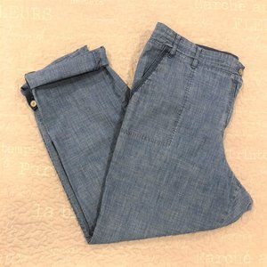 TALBOTS Crop Blue Chambray Roll Tab Casual Pants